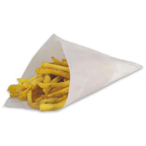 Papieren puntzakken voor patat 19 cm 125 g, wit vetvrij papier