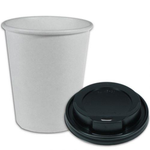 SPARSET - Coffee To Go Kaffeebecher weiß - 12oz, 300ml, Pappbecher mit schwarzem Deckel