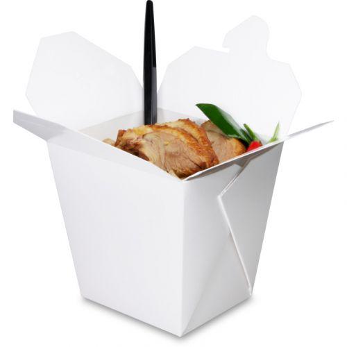 Faltbox ohne Henkel (FoldPak) – Asia-/Nudelbox weiß unbedruckt - 16oz/500ml