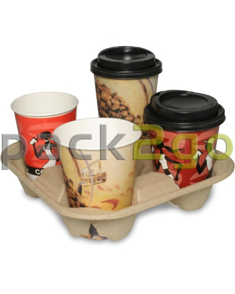 Chinet-Becherhalter, Pappe - Cup Carrier für 4 Coffee To Go-Becher