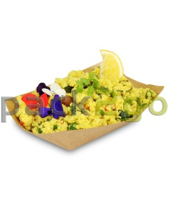 Foodtray aus Recycling-Papier (kompostierbar), braune Snackschale - 107x50x41mm