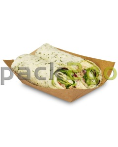 Foodtray aus Recycling-Papier (kompostierbar), braune Snackschale - 125x75x45mm