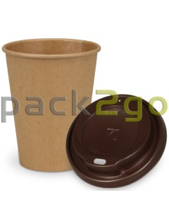 SPARSET - Coffee To Go Recycling Kaffeebecher - 12oz, 300ml, Kraftpapierbecher mit braunem Deckel