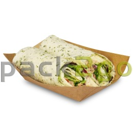 Foodtray aus Recycling-Papier, braune Snackschale - 125x75x45mm