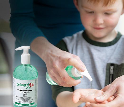 Händedesinfektion<br>für Kitas, Schulen, <br>Küchen & <br>am Arbeitsplatz